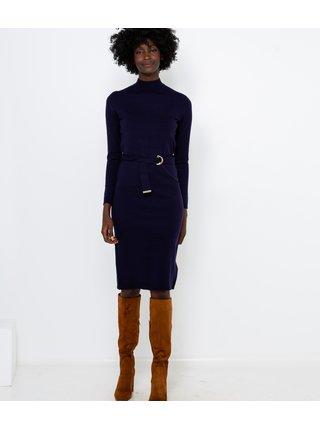 Tmavomodré svetrové šaty CAMAIEU