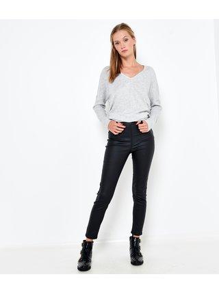 Čierne skrátené koženkové nohavice CAMAIEU