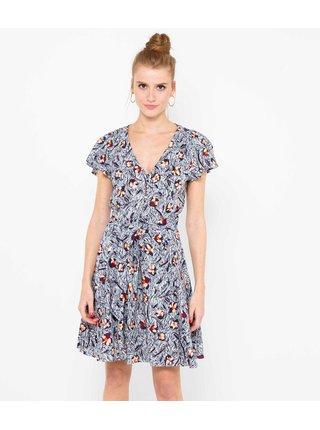 Modré kvetované šaty CAMAIEU