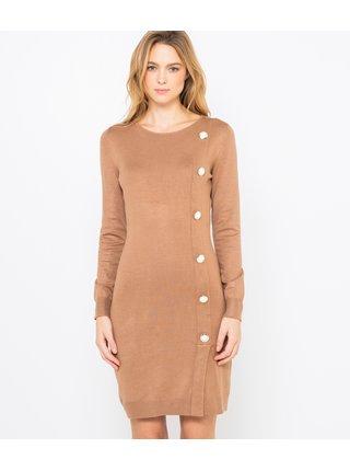 Hnědé svetrové šaty CAMAIEU