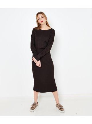 Tmavě hnědá svetrová midi sukně CAMAIEU