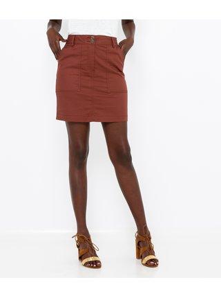 Hnědá krátká sukně CAMAIEU