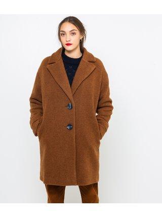 Hnedý vlnený kabát CAMAIEU