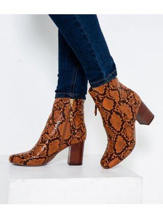 Hnědé kotníkové boty s hadím vzorem CAMAIEU