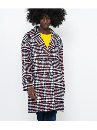 Fialový kockovaný kabát s prímesou vlny CAMAIEU