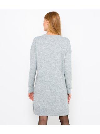 Světle šedé svetrové šaty CAMAIEU