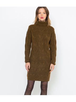 Khaki svetrové šaty CAMAIEU
