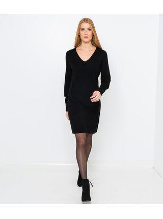Černé vlněné šaty s příměsí kašmíru CAMAIEU
