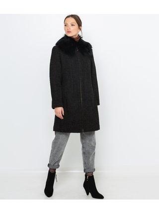 Čierny kabát s prímesou vlny CAMAIEU