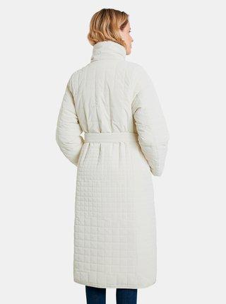 Krémový dámsky prešívaný zimný kabát so zaväzovaním Desigual Granollers