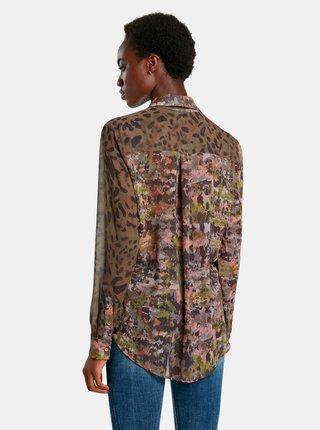 Hnedá dámska vzorovaná košeľa Desigual Daytona