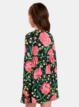 Ružovo-čierne dievčenské kvetované šaty Desigual Opala