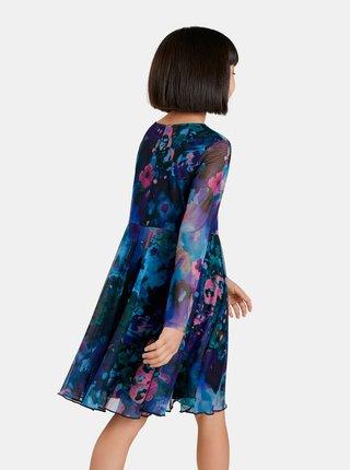 Modré dievčenské vzorované šaty Desigual Lipa