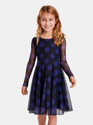 Modro-čierne dievčenské kvetované šaty Desigual Alicia