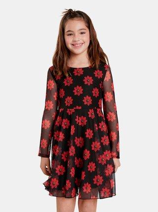 Červeno-čierne dievčenské kvetované šaty Desigual Alicia