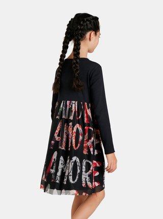 Čierne dievčenské vzorované šaty s nápismi Desigual Aina