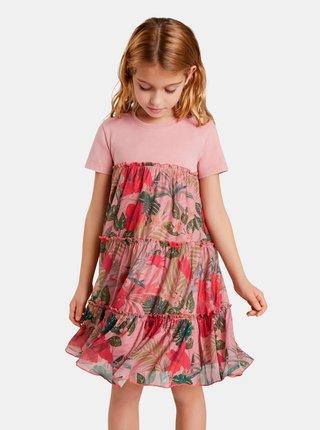 Ružové dievčenské kvetované šaty Desigual Zafiro