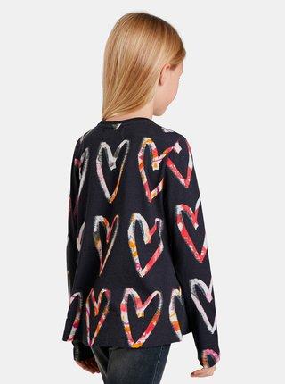 Černé holčičí vzorované tričko Desigual Ana
