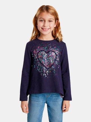 Fialové holčičí tričko s flitry Desigual Core