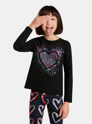 Černé holčičí tričko s flitry Desigual Core