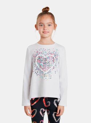 Bílé holčičí tričko s flitry Desigual Core