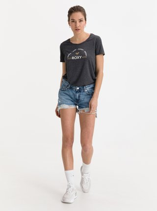 Tmavě šedé tričko s potiskem Roxy