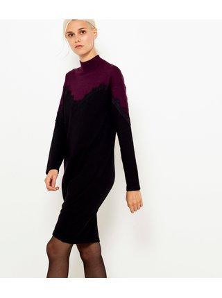 Fialovo-černé svetrové šaty CAMAIEU