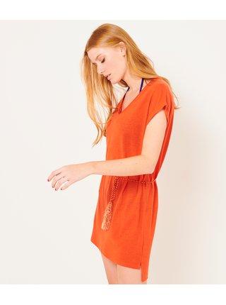 Oranžové lněné šaty CAMAIEU
