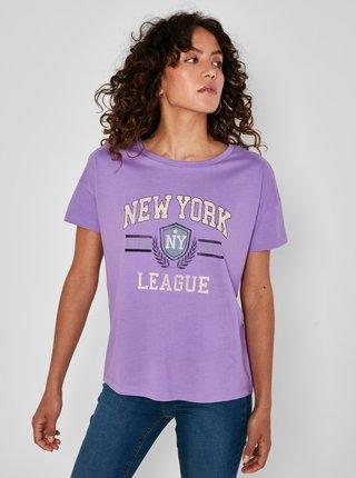 Fialové tričko s potlačou Noisy May Preppy