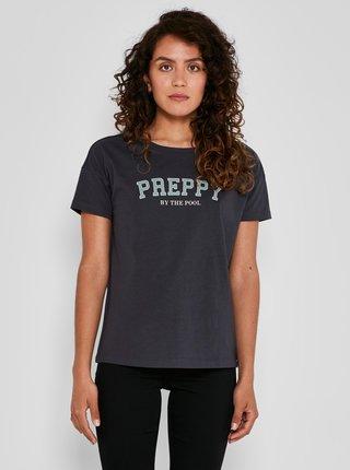 Tmavě šedé tričko s potiskem Noisy May Preppy
