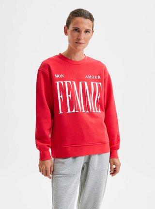 Červená mikina s potiskem Selected Femme Amour