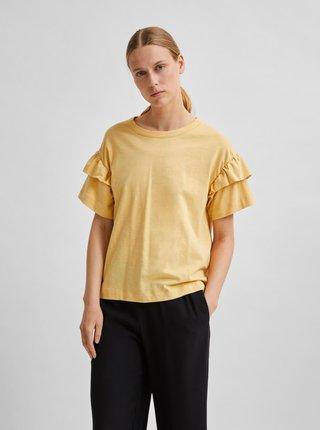 Žluté tričko s volány Selected Femme Frylie