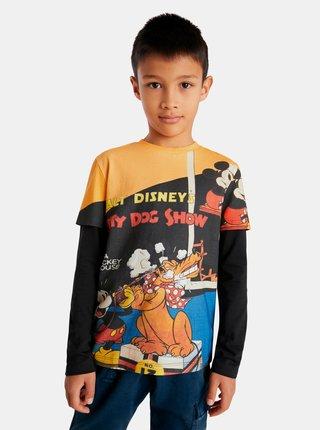 Žluto-černé klučičí vzorované tričko Desigual Mickey&Pluto