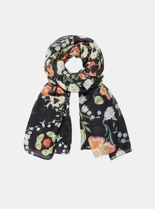 Černý dámský květovaný šátek Desigual Niagara Rectangle