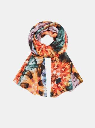 Oranžový dámský vzorovaný šátek Desigual Samara Multi Rectangle