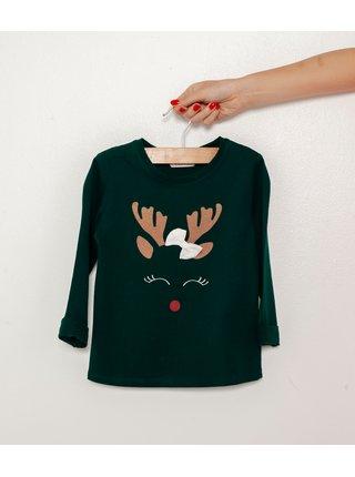 Tmavozelené dievčenské tričko s vianočným motívom CAMAIEU
