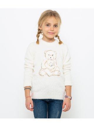 Biela dievčenská mikina s vianočným motívom CAMAIEU