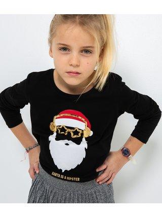 Čierne dievčenské tričko s vianočným motívom CAMAIEU