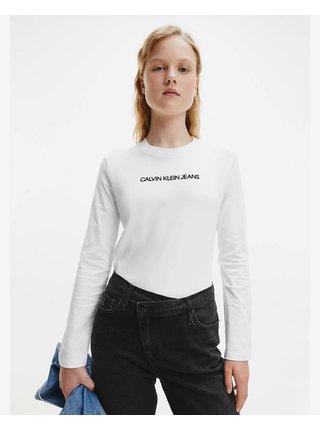 Tričká s dlhým rukávom pre ženy Calvin Klein - biela