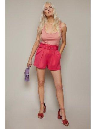 Růžové šortky s mačkaným pasem LITTLE MISTRESS