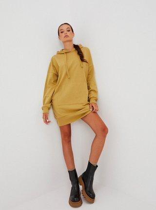 Khaki mikinové šaty s kapucí Moodo