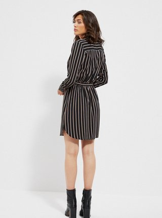 Čierne pruhované košeľové šaty s opaskom Moodo