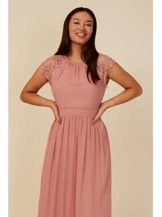 Růžové maxi šaty s prošíváním a flitry LITTLE MISTRESS
