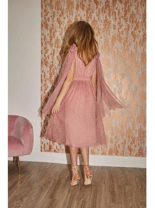 Růžové midi šaty se zdobnými mašlemi LITTLE MISTRESS