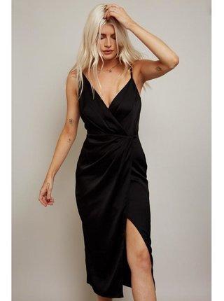 Černé saténové zavinovací midi šaty LITTLE MISTRESS
