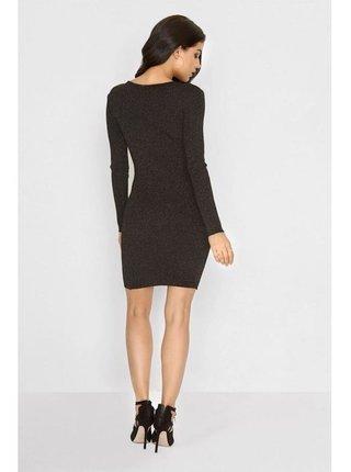 Černé lurexové šaty se šněrováním LITTLE MISTRESS
