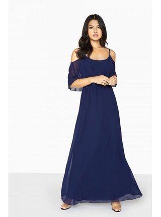 Modré maxi šaty s odhalenými rameny LITTLE MISTRESS