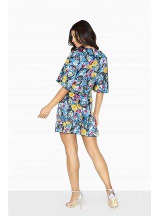 Barevné zavinovací květinové mini šaty LITTLE MISTRESS