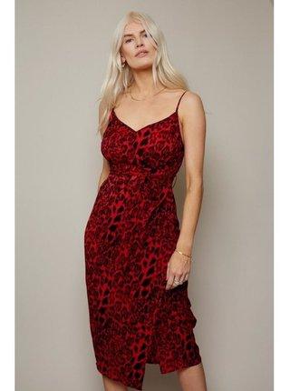 Červené leopardí zavinovací šaty LITTLE MISTRESS