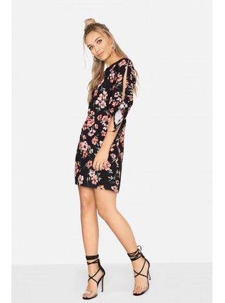 Černé mini šaty s květinovým vzorem LITTLE MISTRESS